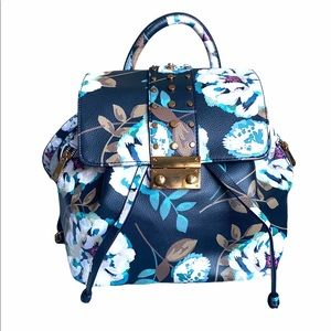 Love & Lore Floral Backpack Purse Navy and White